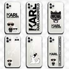 Lagerfeld marca de luxo designer karls caso telefone claro para o iphone 12 11 pro max mini xs 8 7 6s plus x 5S se 2020 xr capa