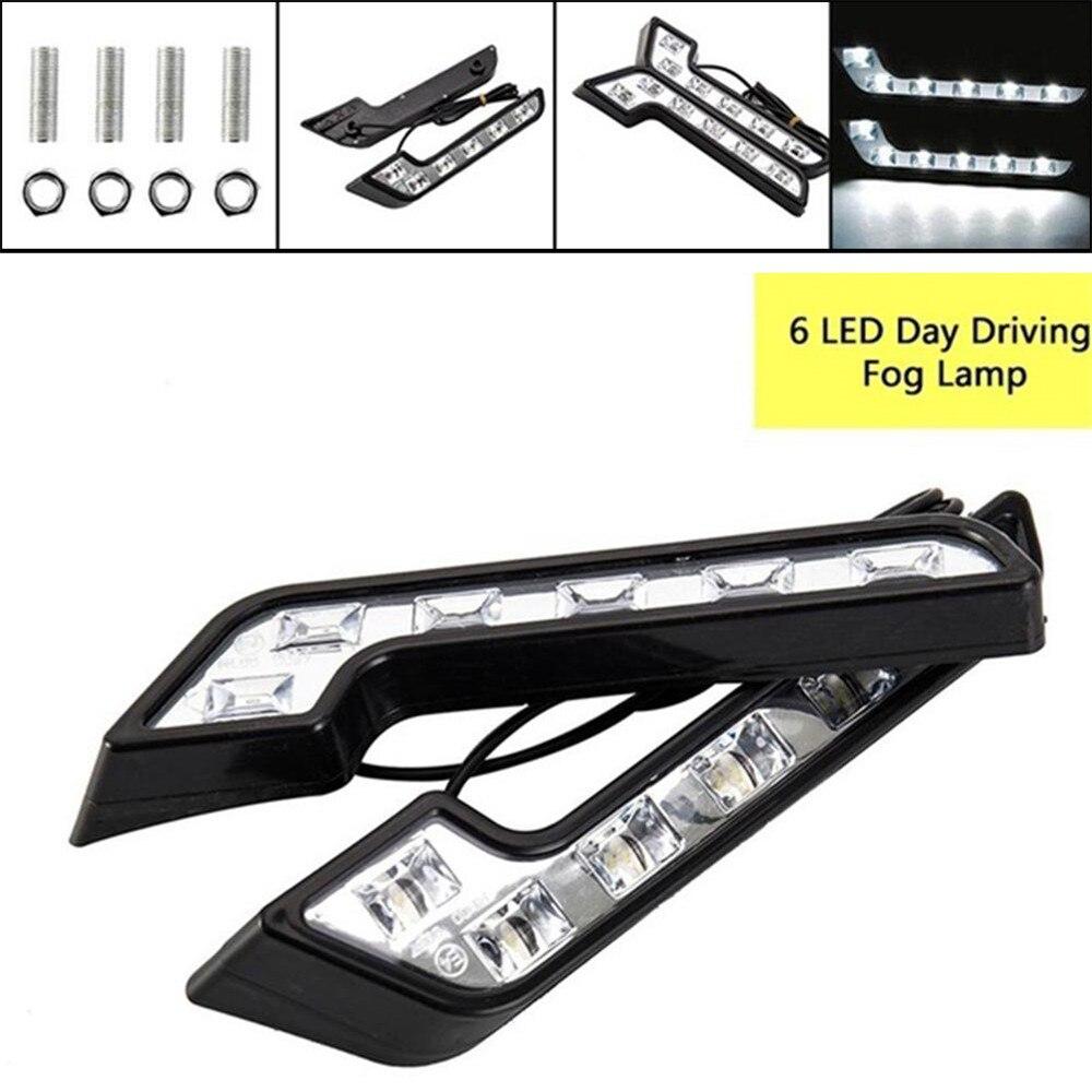 2 шт. 12 В 5 Вт дневные ходовые огни COB Противотуманные дневные ходовые огни в форме L 6LED автомобильные универсальные автомобильные аксессуары для вождения|Сигнальная лампа|   | АлиЭкспресс