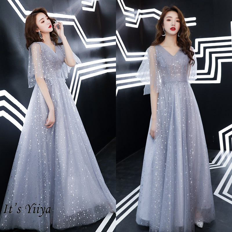 It's Yiiya Evening Dress Long For Women V-neck Gray  Evening Dresses Shining Pattern Formal Gown Plus Size LF190 Robe De Soiree