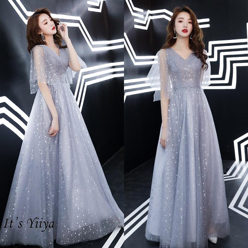 It's Yiiya Evening Dress Long For Women V-neck Gray  Evening Dresses Shining Pattern Formal Gown Plus Size LF190 Robe De Soiree
