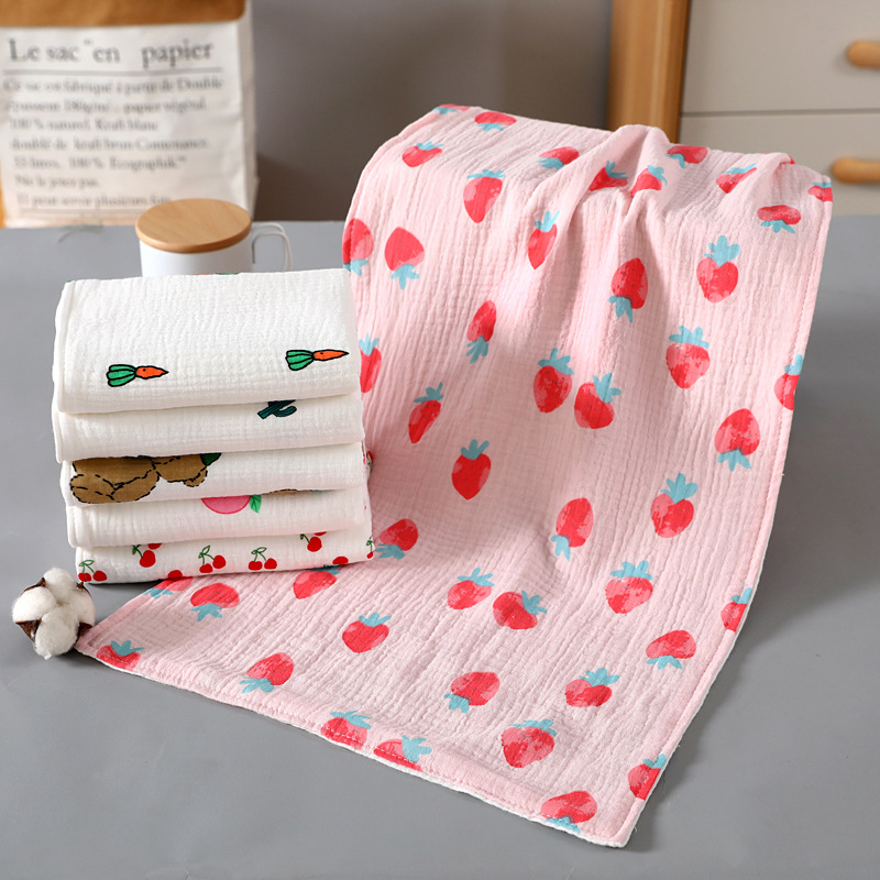Baby Towel Muslin Cotton Newborn Washcloth Strawberry Printing Infant Bath Towels Baby Hand Face Towels Baby Stuff Kids Towel