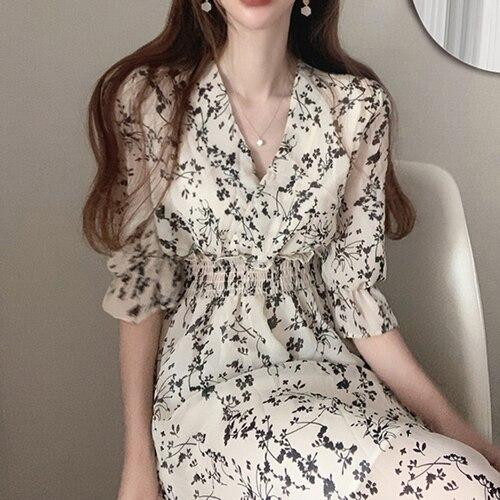 Gaganight Women Retro Floral Dress Cross V Neck Wooden Ear Slim Long Vestido Summer Elegant Chiffon Short Sleeve Dresses Femme 7
