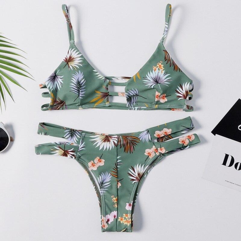 2019 Bathing Suit New Style Printed Bikini Green Multi-Lanyard Bikini Europe And America-WOMEN'S Seperated Swimwear