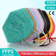 Masque facial en tissu respirant multicolore pour adultes, 5 couches, KN95 Fpp2, approuvé CE ffp3, filtre buccal réutilisable