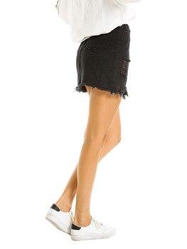Women's Skirts Pencil Bud Black Solid Straight Hole Above Knee Mini  Empire Street Casual Nightclub Sexy Skirt 2