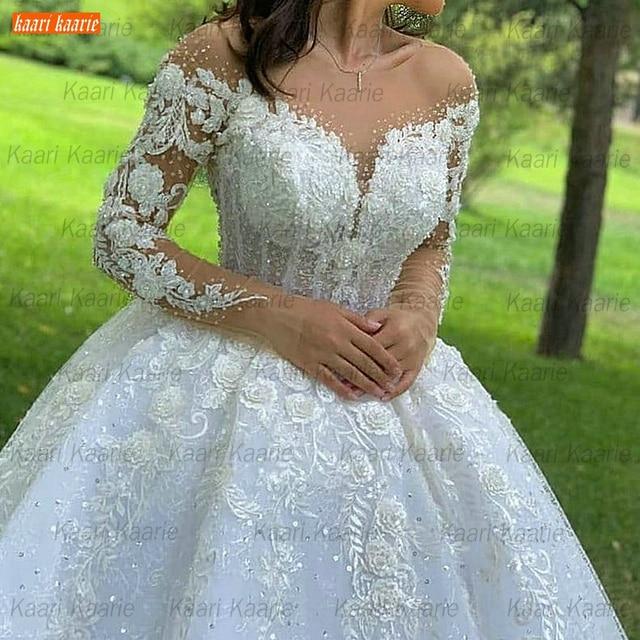 Ball Gown Wedding Dresses O Neck Long Sleeves Vestido Casamento Lace Up Appliqus Beaded Bride Gowns 2021 Suknie Slubne Princess 3