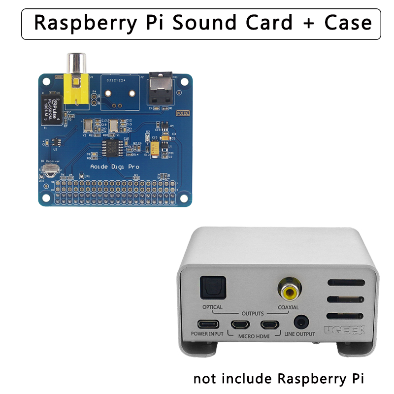 Raspberry Pi 4 AOIDE DIGI PRO Digital Sound Card Board | Aluminum Alloy Case Metal Shell For Raspberry Pi 4 Model B / 3B+ / 3B