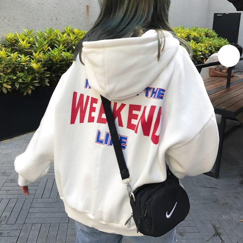 Hoodies com capuz feminino mais carta de veludo impresso bolsos soltos hoodie das mulheres estilo coreano harajuku todo o jogo chique lazer na moda