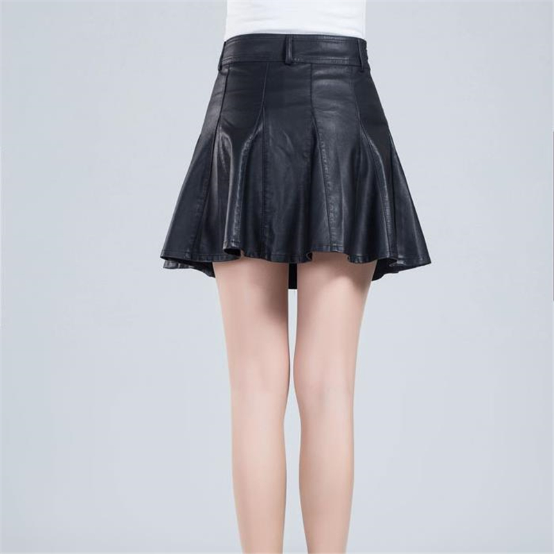 Plus Size 2020 Woman High Pu Falda Jupe Lady Lined Female Spring A line Skirts Autumn Oversized Above Knee Leather Slim Skirt image