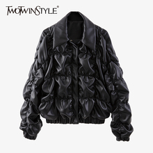Jacket Clothing TWOTWINSTYLE Long-Sleeve Female Women PU for Lapel Casual Ruched Autumn