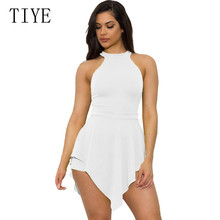 TIYE Sexy Irregular Jumpsuits Nightclub Clothes Women Elegant Sleeveless O-neck Hollow Out Playsuits Female Plus Size 3XL Mujer