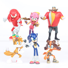 6pcs/set High Quality PVC Toys Sonic Shadow Amy Rose Sticks Tails Characters Action Figures Christmas Gift Baby Toy For Children