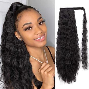 Long Yaki Deep Wave Ponytail Extension Magic Paste Heat Resistant Yaki Water Wavy Synthetic Wrap Around Ponytail Black Hairpiece charming long black shaggy wavy heat resistant synthetic ponytail for women