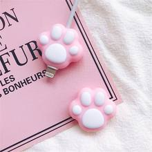 Cute Pink Cartoon Cat Paws Cable Winder Protector for iPhone Cable Kawaii Desktop Wire USB Cable Charger Earphone Protector(China)