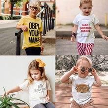 T-shirt avec lettres imprimées pour enfants, vêtements de princesse pour garçons et filles, été