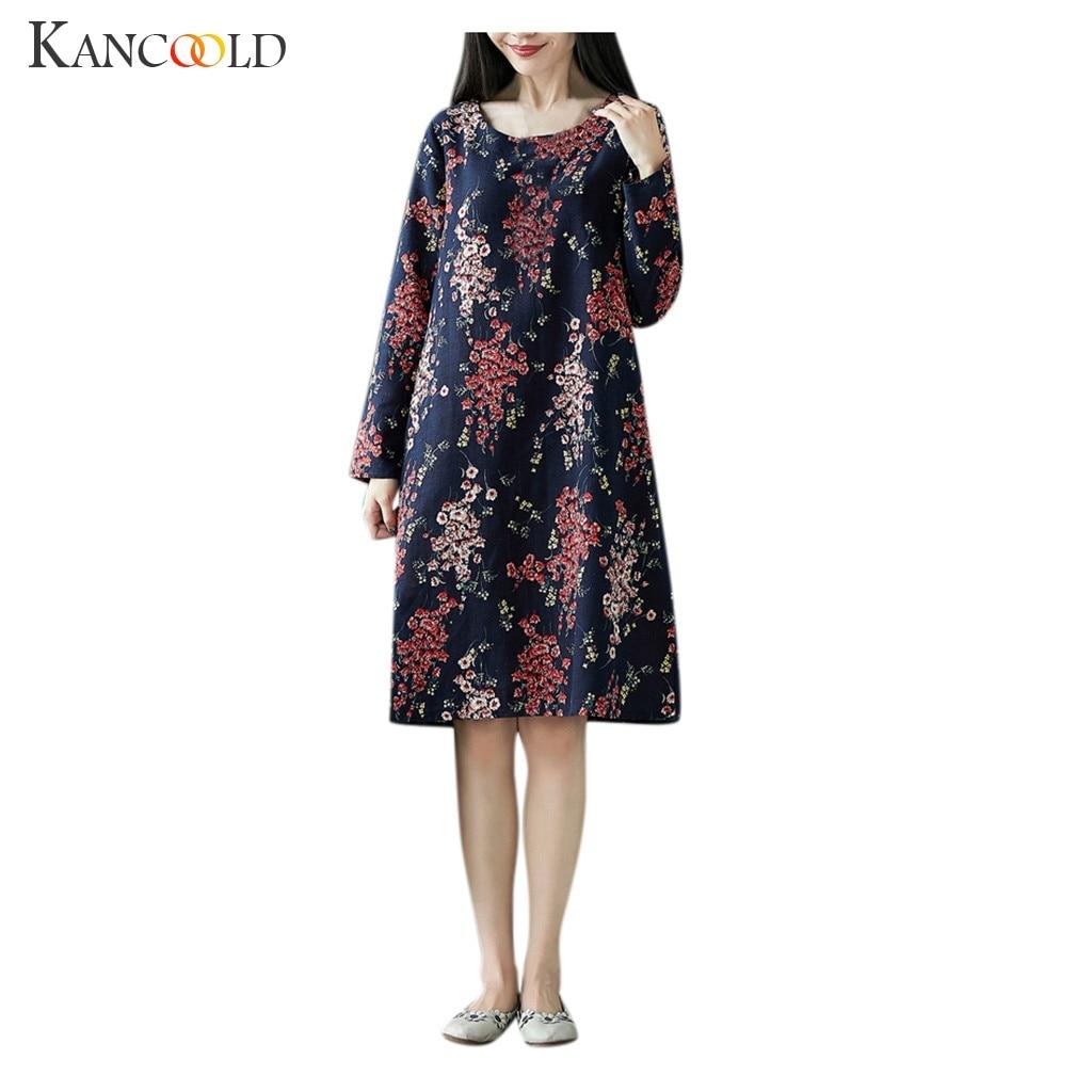 KANCOOLD Women Autumn Winter Vintage A-line Dress Elegant Flower Print Patchwork Long Sleeve Dress Party No Belt