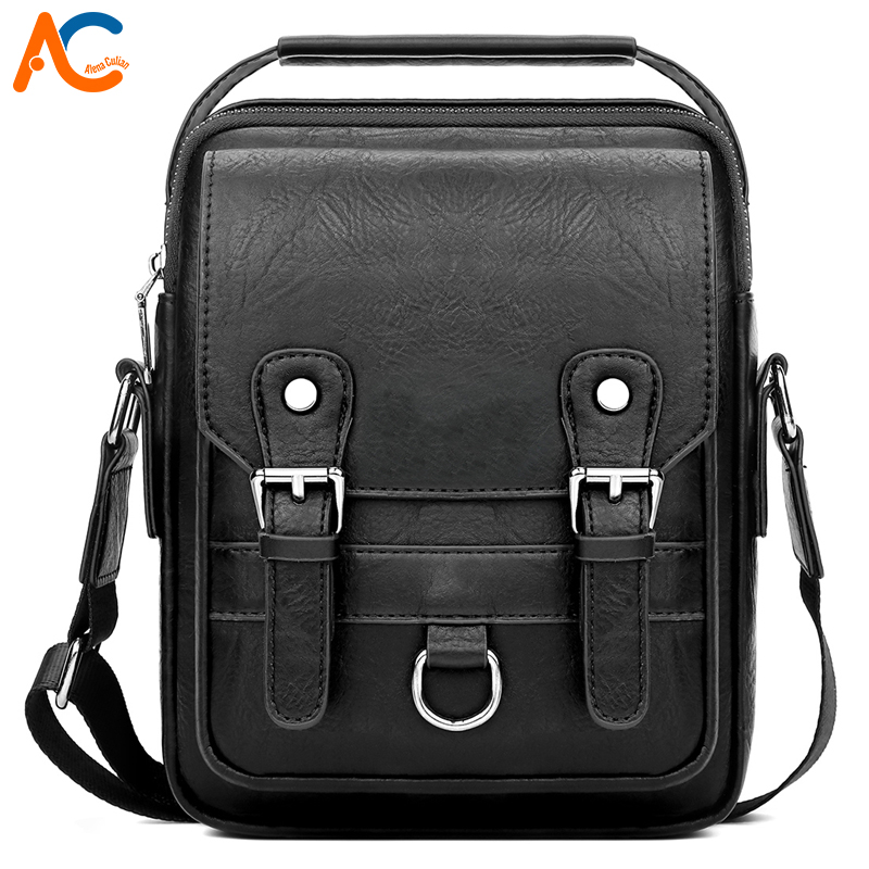 Alena Culian New Casual Leather Men's Business Messenger Bag Zipper Hasp Design Open Handbags For Men Black Flap Shoulder Bags