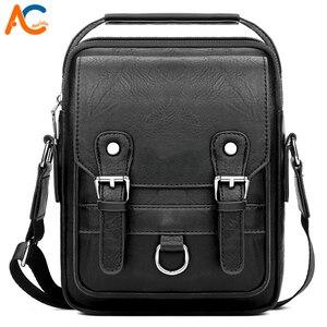 Image 1 - Alena Culian yeni rahat deri erkek iş askılı çanta fermuar çile tasarım açık çanta erkekler için siyah kapak omuz çantaları