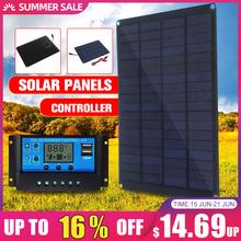 20W 12V 18V Panel słoneczny z zacisk baterii + 10 20 30 50A ładowarka słoneczna kontroler ogniwa słoneczne na zewnątrz Camping piesze wycieczki tanie tanio KINCO 23cmx17cm 9 0x6 6 inch solar panel Monokryształów krzemu
