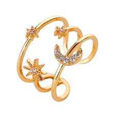 Bohemian Vintage Rings Star Moon Beads Crystal Ring Set Women Charm Joint Ring Party Wedding Fashion Jewelry Gifts vintage gold crystal rings set beads ring for women metal charm ring bohemian wedding fashion jewelry party gifts