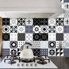 Preto cinza branco cozinha banheiro telha adesivos transfere plana impresso capas para telhas diy adesivo anti-respingo pvc parede paster