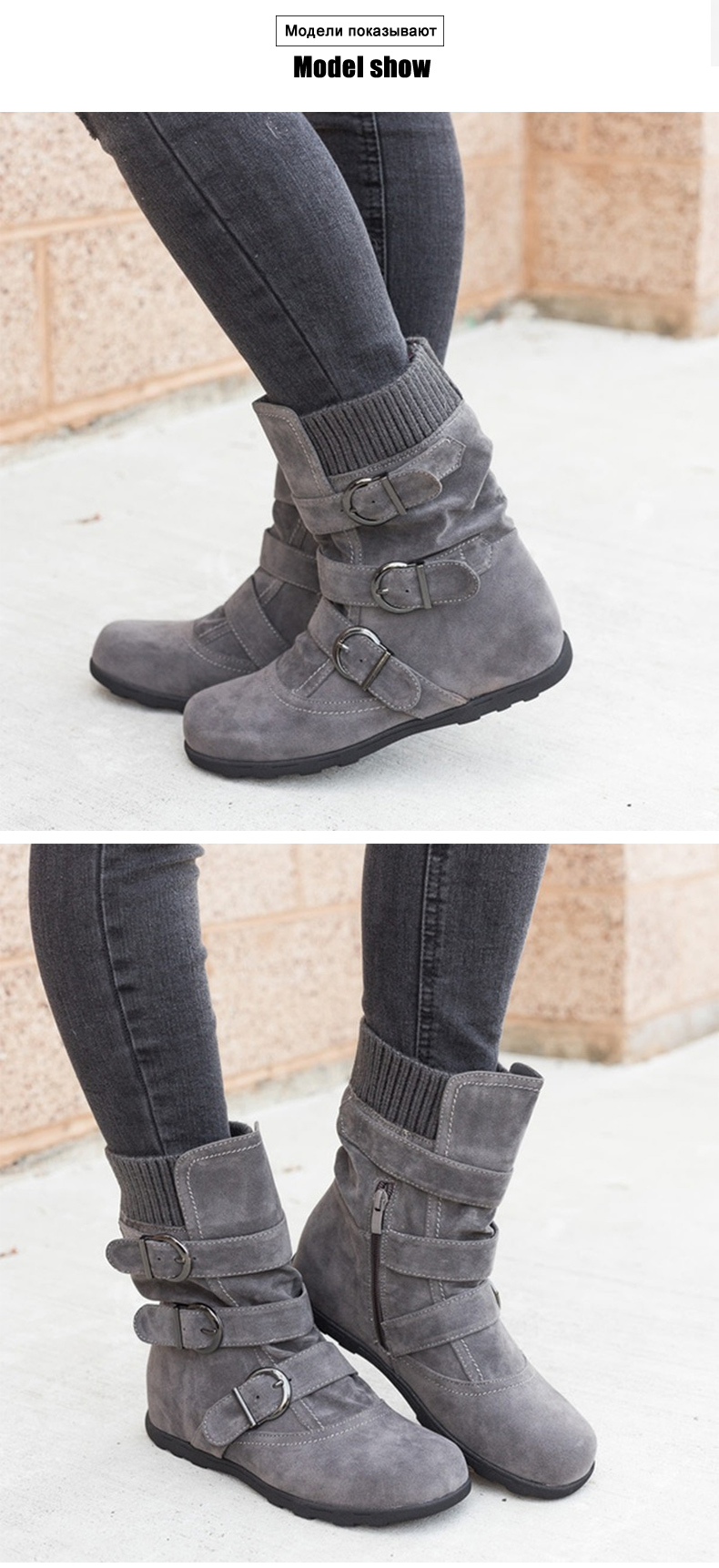 Woman boots Plus Size 43 winter boots woman 2019 Boots Rubber Non slip Snow boots Belt buckle Ankle boots for women 27