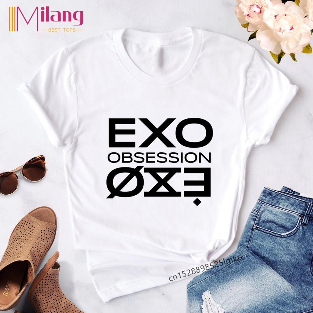 2020 New Fashion Chanyeol Exo Letter Print Tshirt Women Harajuku Kpop T-Shirt Casual Short Sleeve Tees Shirt Tops Clothes
