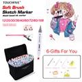 TouchFIVE маркер для рисования набор ручек 20 Вт  30 Вт  40/60/80/168 Цвета маркер для рисования на спиртовой основе манга двойная головка для рисования ...