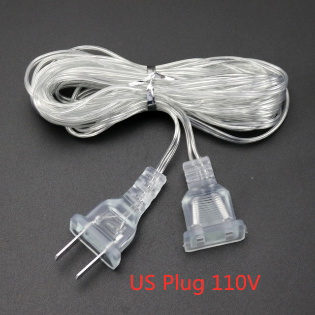 New 3m Plug Extender Wire Extension Cable EU/US Plug For LED String Light Christmas Wedding Party Home Decoration 5