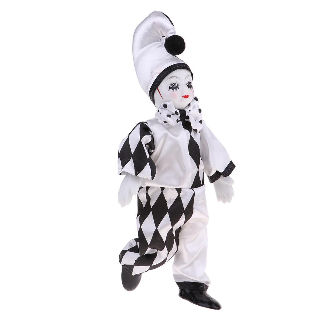 25 см 10 дюймов Забавный фарфоровый стоящий клоун кукла в черно белом костюме домашний декор Куклы      АлиЭкспресс