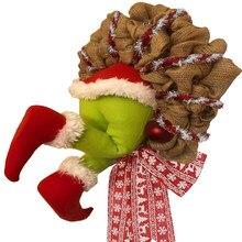 Guirnalda de arpillera navideña para decoración, exquisita corona de Papá Noel para pared de salón y ventana