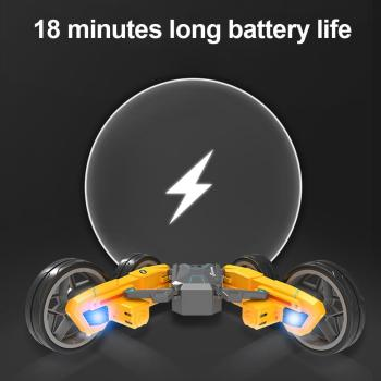 2.4G Remote Control Double-sided Stunt Car, Deformable, Long-lasting Battery Life, Luminous Children's Stunt Spinning Toy Car image