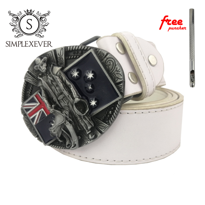 Australia Mens Belt Buckles In Silver Plating Metal Belt Buckle Head With Leather Belt As Birthday Gifts