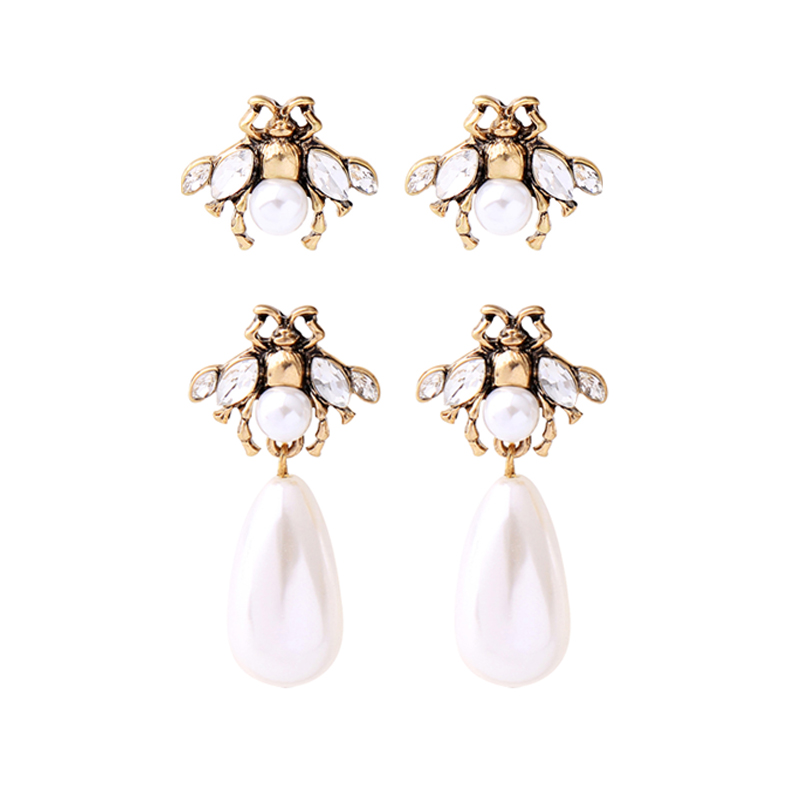 Vintage Gold Color Insects Drop Earrings Imitation Pearls Pendants Earrings For Women Fashion Jewelry Wholesale Free Shipping