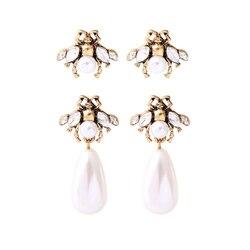 Cor do ouro do vintage insetos gota brincos imitação pérolas pingentes brincos para mulheres moda jóias por atacado