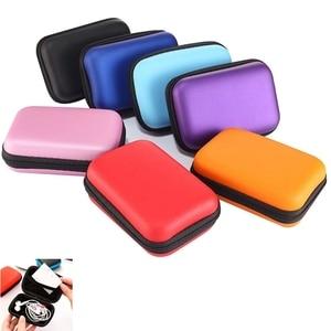 Image 1 - Mini fermeture éclair dur casque étui EVA cuir écouteur sac de protection Usb câble organisateur Portable écouteurs poche boîte
