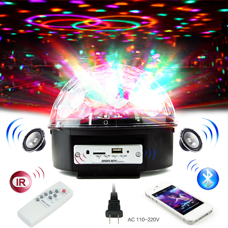 6 Color Digital RGB Disco Ball Stage Light LED Bluetooth Speaker Prom Laser Party Light With Mp3 Player Prom DJ Projector Light