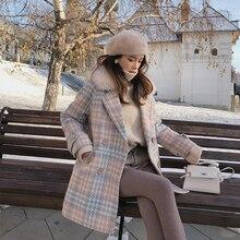 MISHOW женский верхняя одежда зимняя одежда мода теплые шерстяные смеси женский элегантный двубортный шерстяное пальто MX18D9679