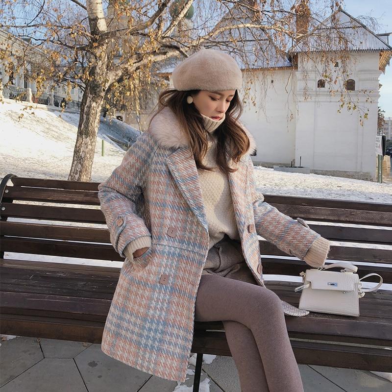 Mishow 2019 Women Coat outerwear winter clothing fashion warm woolen blends female elegant Double Breasted woolen