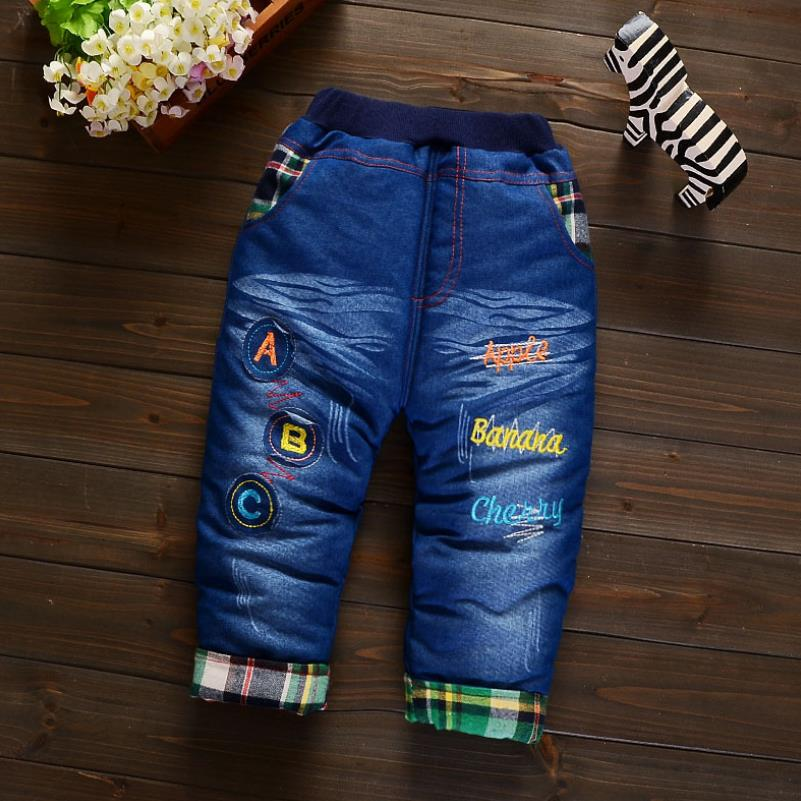 2019New Fashion Girls Autumn Winter Thicken Jeans Baby BoyEmbroidery  Jeans Kids Elastic Waist Winter Trousers Warm Pants 4