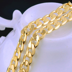 Solidne 18 karatowe złoto G/F męskie damskie Fine naszyjnik łańcuch urodziny Valentine prezent cenny