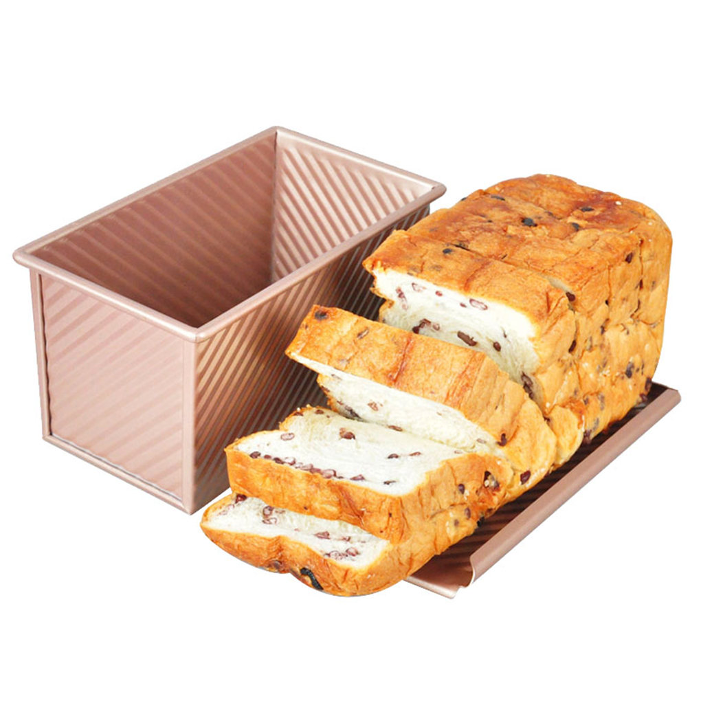 1pc Loaf Pan With Cover Bread Baking Mould Cake Toast Non-Stick Toast Box With Lid Gold Aluminized Steel Bread Mould Bread Mold