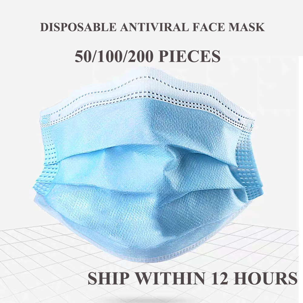 50/100/200pcs Anti Dust Anti Wholesale Face Mouth Mask For Outdoor Use Clear Dust Tool Non Woven Disposable Antiviral Face Mask