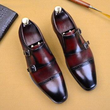 De los hombres zapatos de vestir de oficina de cuero de vaca cuero Formal zapatos Retro hebilla monje correas zapatos de cuero genuino