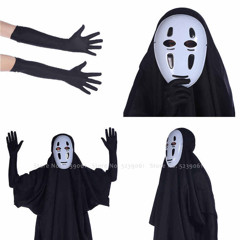 Anime Tidak Ada Wajah Man Masker Spirited Away Cosplay Kostum Pesta Halloween Memakai Komik Jepang Pameran Jubah Hitam Sarung Tangan Tutup Kepala