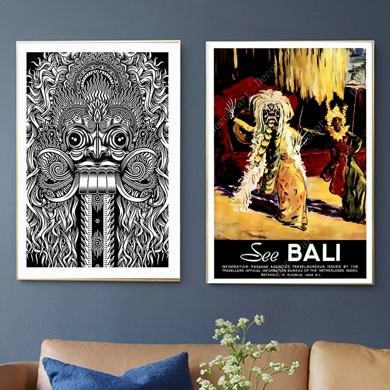 Indonesia Bali Summer Holiday Travel Canvas Paintings Vintage Wall Kraft Posters Coated Wall Stickers Home Decor Picture Gift