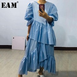 [EAM]  Half-body Skirt Ruffles Two Pieces Suit New Round Neck Puff Sleeve Blue Loose Women Fashion Tide Spring Summer 2020 1U726