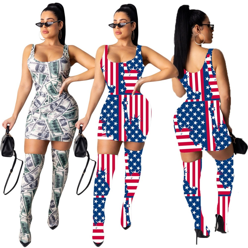 Sexy Fashion Women Mini Dress Included Knee Socks Digital Floral Printed American Flag Dollar Summer Outfits Club Party Sundress