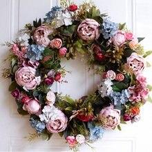 Grinalda artificial rostesque decoração de porta guirlanda parede pendurado decoração de casa cerca de 50 cm para casamento ou festa