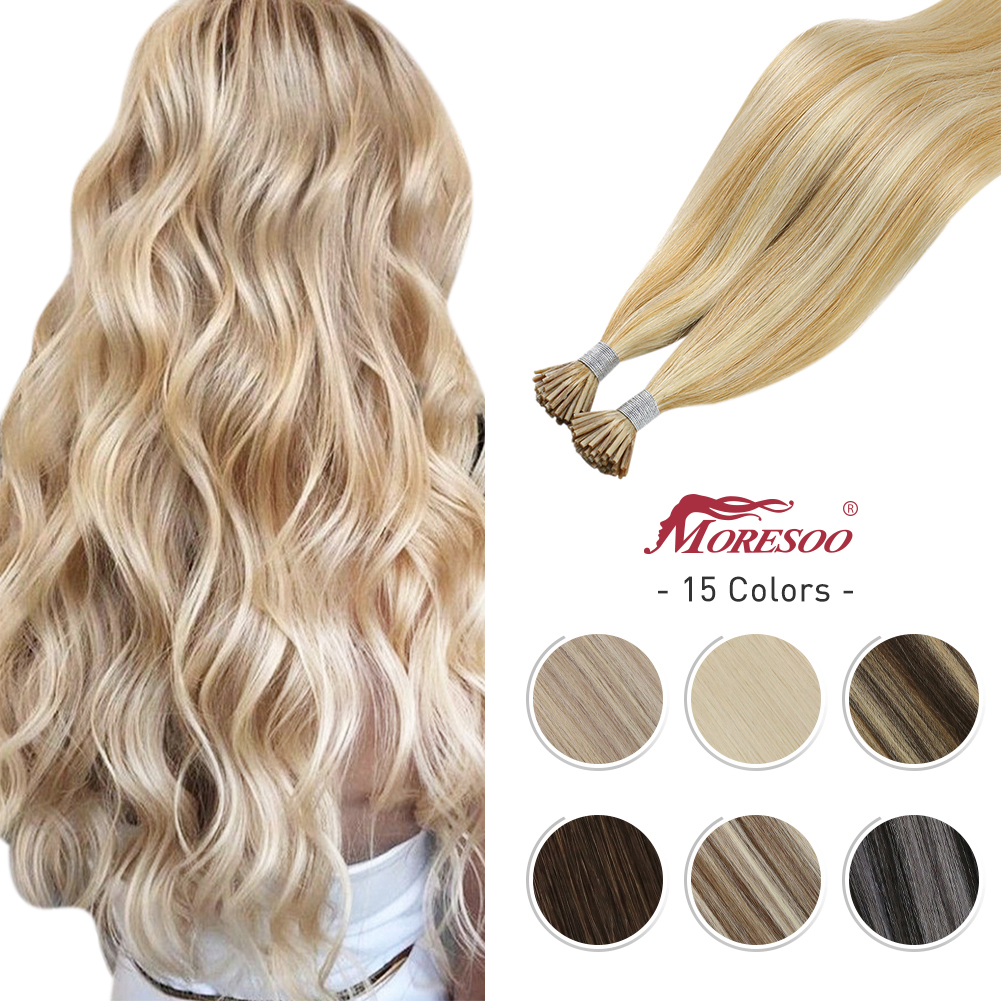 10 Colors I tip Hair Extensions Human Hair Keratin Brazilian Fusion Hair Extension Tips 40G/80G Machine Made Remy Balayage Hair